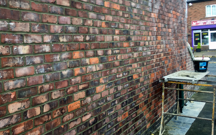 Brickwall having repointing work done
